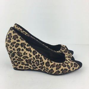 Candie's Shoes - Candies Leopard Print Peeptoe Wedges Size 8M